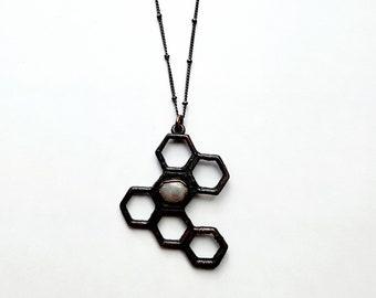 Gunmetal Hexagon Honeycomb with Rainbow Moonstone Necklace // Copper Electroformed, Soldered Gunmetal Chain // Honey Bee, Queen Bee,