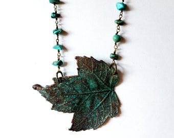 Turquoise Copper Maple Leaf Necklace // Electroformed, Howlite Rosary Chain // Trees, Nature, Real Leaf
