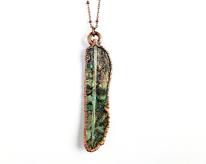 Carved Abalone Feather Necklace // Electroformed Copper // Soldered Copper Chain // Shell Necklace