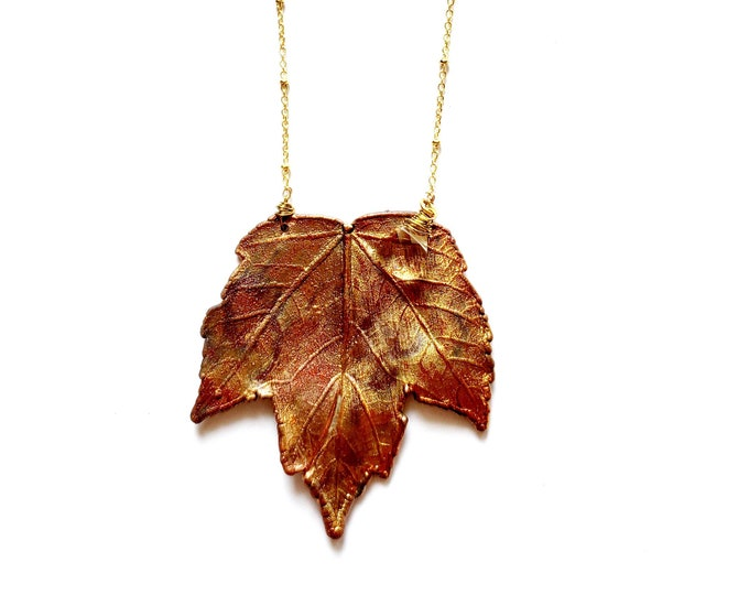 Iridescent Copper Electroformed Maple Leaf Necklace // Soldered Gold Filled Chain // Trees, Nature