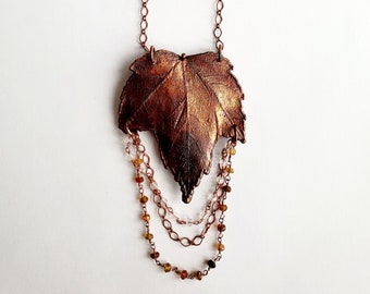 Iridescent Copper Electroformed Maple Leaf Necklace // Soldered Copper Chain // Trees, Nature