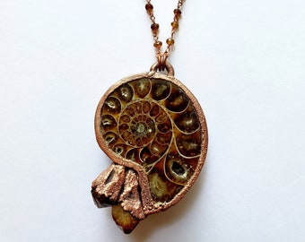Large Copper Ammonite Fossil with Citrine Points // Tourmaline Rosary Chain // Electroformed, Copper //