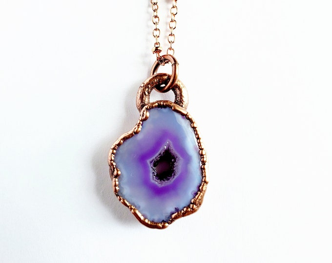 Purple Solar Quartz Druzy Necklace // Electroformed Jewelry // Soldered Copper Chain