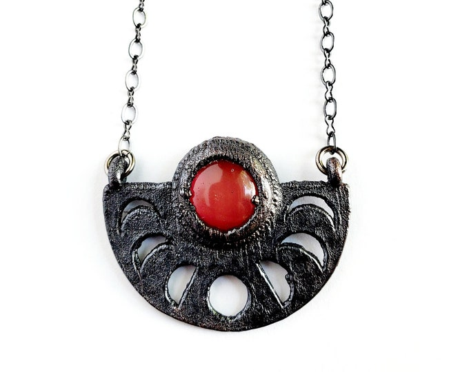 Carnelian Moon Phase Necklace // Electroformed Jewelry // Soldered Gunmetal Chain
