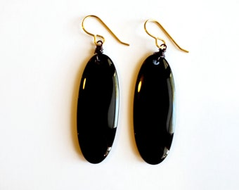 Oval Obsidian Dangle Earrings with Brass Ear Wires // Hand Drilled and Wrapped // Stone Earrings