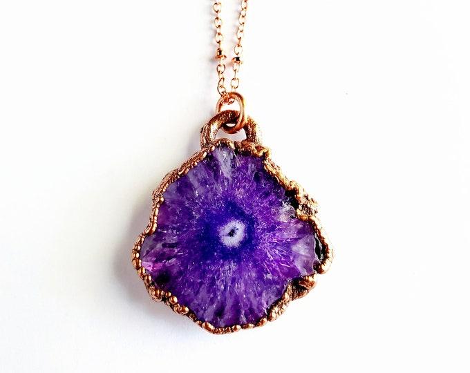 Purple Solar Quartz Druzy Necklace // Electroformed Copper // Soldered Copper Chain