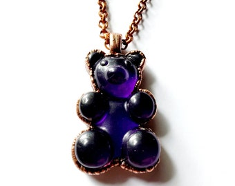Purple Gummy Bear Necklace // Electroformed Copper // Copper Chain