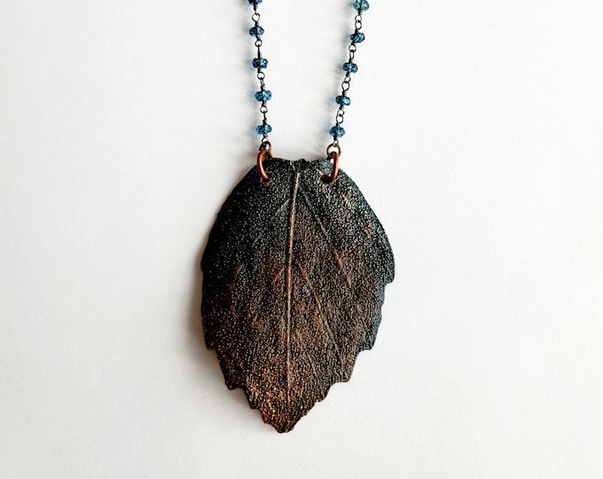 Antique Copper Electroformed Leaf // Sapphire Beaded Chain // Trees, Nature, One of a kind