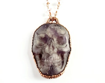 Carved Amethyst Skull Necklace // Electroformed Jewelry // Clear Quartz Beaded Chain // February Birthstone, Gemstone