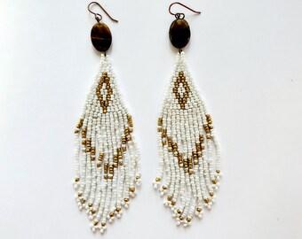 Brick Stitch Long Beaded Earrings with Faceted Tiger Eye // Copper Ear Wires, Beaded Earrings, Tassel Earrings
