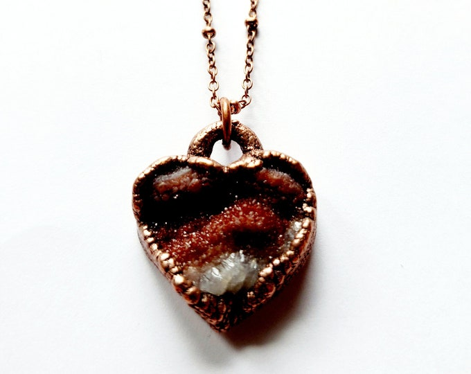 Red Chalcedony Druzy Heart Necklace // Electroformed, Soldered Copper Chain // Sparkly Heart, Love