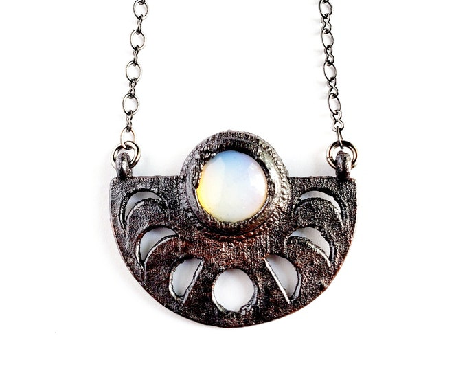 Opalite Moon Phase Necklace // Electroformed Jewelry // Soldered Gunmetal Chain