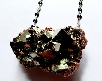Electroformed Copper and Pyrite Necklace // Silver Disc Chain // Fool's Gold