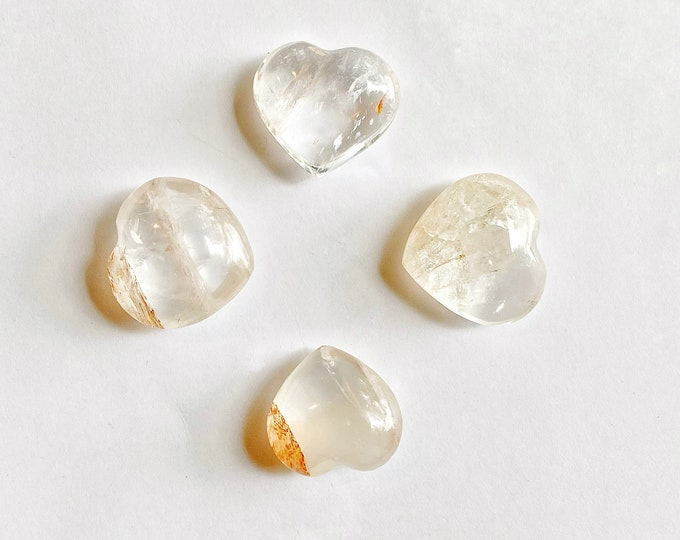 Small Hematoid Quartz Heart Stone (1) // Natural Stone, Rocks and Minerals, Love Stone, Carved Stone