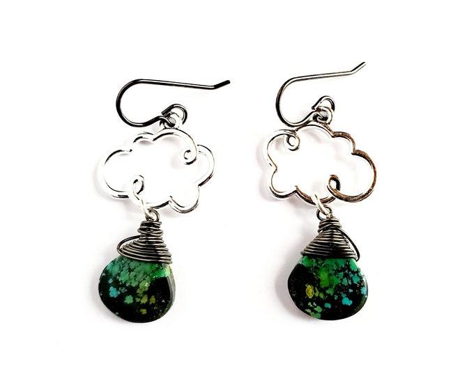Tibetan Turquoise Drop Earrings // Silver Clouds, Titanium Ear Hooks // July Birthstone