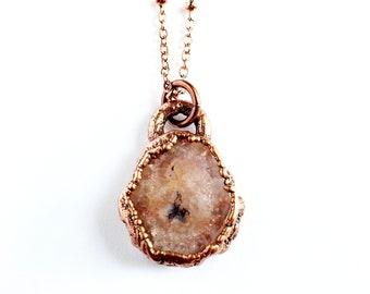 Peach Solar Quartz Druzy Necklace // Electroformed Jewelry // Soldered Copper Chain