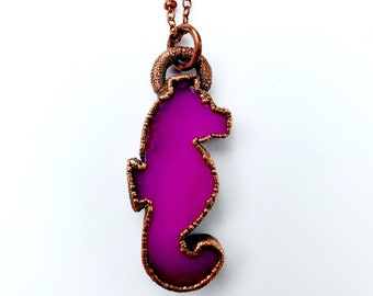 Hot Pink Agate Seahorse Necklace // Electroformed, Copper Chain // Agate Necklace