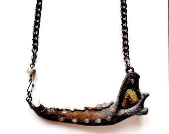 Electroformed Found Animal Jawbone With Faceted Sapphire Necklace // Labradorite Accents, Gunmetal Chain // Ethically Sourced