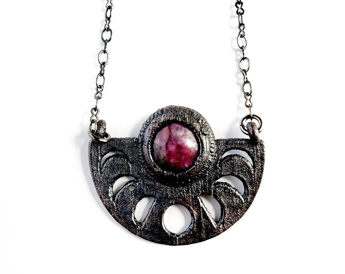 Ruby in Zoisite Moon Phase Necklace // Electroformed Jewelry // Soldered Gunmetal Chain