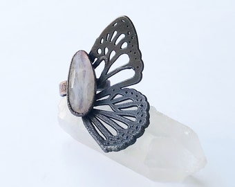 Gunmetal Copper Faceted Rainbow Moonstone Butterfly Wing Ring, Size 6 // Electroformed Copper // Natural Stone, Statement Ring, Flash