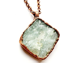 Raw Aventurine and Copper Necklace // Electroformed, Soldered Copper Chain // Rocks and Minerals