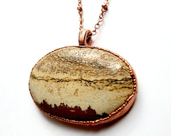 Nurturing Picture Jasper and Copper Pendant // Electroformed, Soldered Copper Chain