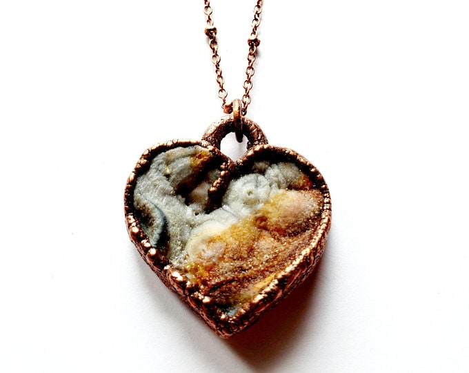 Chalcedony Druzy Heart Necklace // Electroformed, Soldered Copper Chain // Sparkly Heart, Love