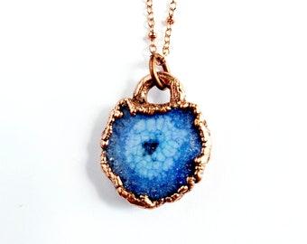 Purple Solar Quartz Druzy Necklace // Electroformed Jewelry // Soldered Copper Chain