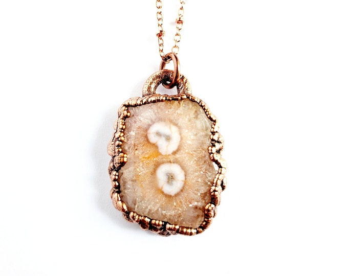Peach Solar Quartz Druzy Necklace // Electroformed Jewelry // Soldered Copper Chain