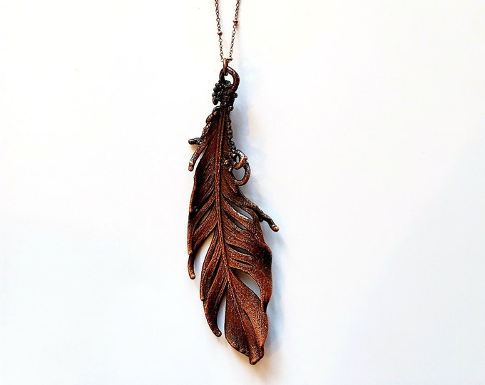 Antique Copper Electroformed Mallard Feather Necklace // Pure Copper, Soldered Copper Chain // Naturally Shed
