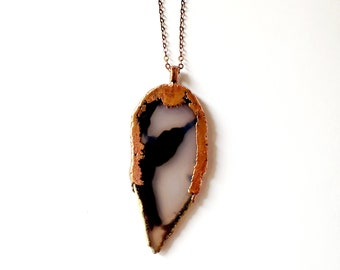 Natural Agate and Copper Necklace // Electroformed, Copper Chain // Natural Stone