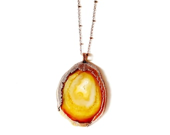 Solar Orange Natural Agate and Copper Necklace // Electroformed, Copper Chain // Natural Stone