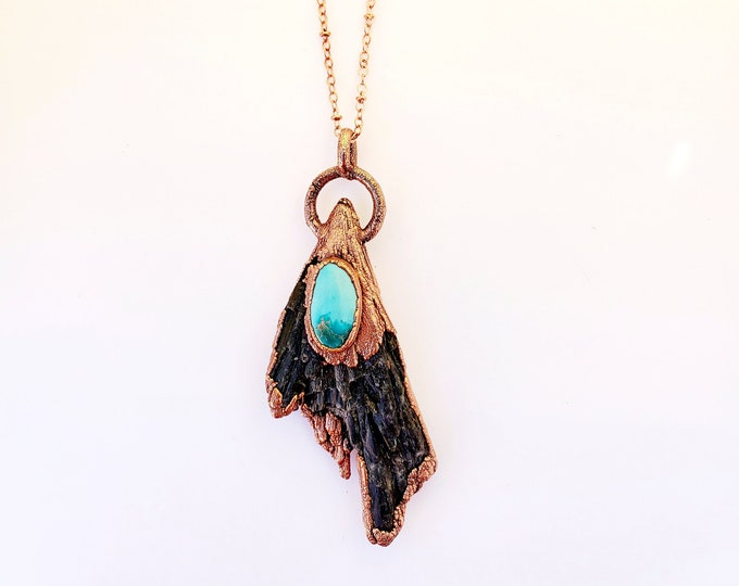 Featured listing image: Black Kyanite Fan and Turquoise Necklace // Electroformed, Soldered Copper Chain // Gemstone Necklace