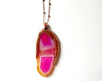 Pretty Pink Agate and Copper Necklace // Electroformed, Copper Chain