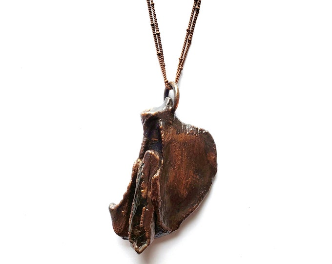 Antique Copper Real Raccoon Scapula with Smoky Quartz Point Necklace // Electroformed, Soldered Dual Copper Chains // Cruelty Free