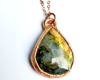 Faceted Multi-Colored Labradorite and Copper Necklace  // Electroformed, Soldered Copper Chain // Gemstones, Cabochon, Energy, Flash