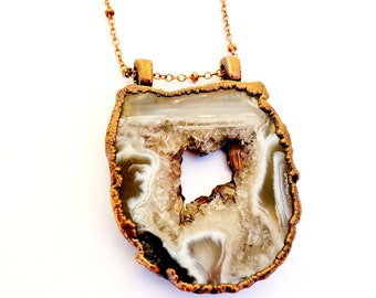 Oco Occo Agate Geode Druzy snd Copper Necklace // Electroformed // Soldered Copper Chain, Crystals