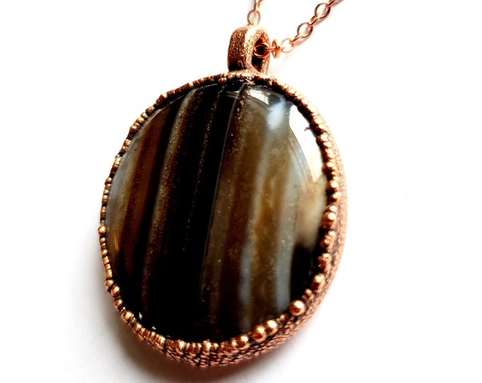 Black Onyx Agate and Copper Necklace // Electroformed // Copper Chain // Agate Necklace, Polished Stone