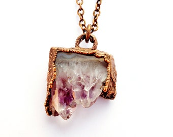 Petite Electroformed Copper Amethyst Cluster Necklace // Soldered Copper Chain // Gemstone Necklace, Birthstone, February