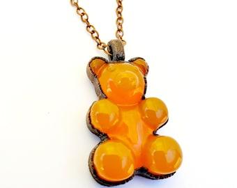 Firey Orange Gummy Bear Necklace // Antique Copper Electroformed, Copper Chain, Resin
