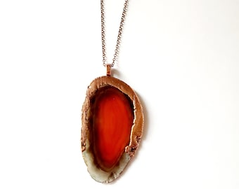 Banded Orange Agate Slice and Copper Necklace // Electroformed // Copper Chain