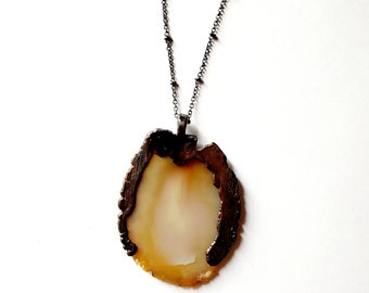 Natural Agate and Gunmetal Copper Necklace // Electroformed // Soldered Gunmetal Chain, Natural Stone
