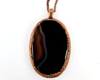 Black Onyx Agate and Copper Necklace // Electroformed, Copper Chain // Agate Necklace, Polished Stone