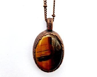 Gunmetal Copper Tigers Eye Pendant // Electroformed, Boho Chic // Soldered Gunmetal Satellite Chain