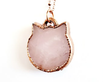 Rose Quartz Crystal Cat Necklace // Electroformed Jewelry // Soldered Copper Chain // Crystal Necklace // Cat Lady