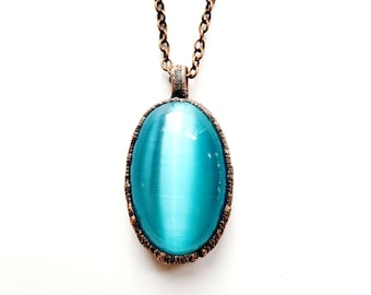 Copper Baby Blue Cat's Eye Gemstone Pendant // Electroformed, Gunmetal Chain
