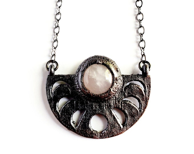 Rose Quartz Moon Phase Necklace // Electroformed Jewelry // Soldered Gunmetal Chain
