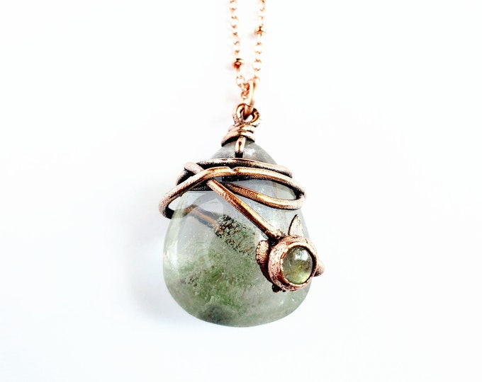 Lodolite and Labradorite Necklace // Electroformed Jewelry // Soldered Copper Chain // Garden Quartz, Crystals, Gemstones