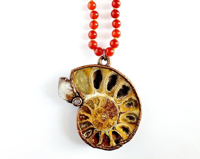 Ammonite Fossil Necklace with Rainbow Moonstone and Citrine // Electroformed // Golden Rutile and Carnelian Hand Knotted Beaded Necklace