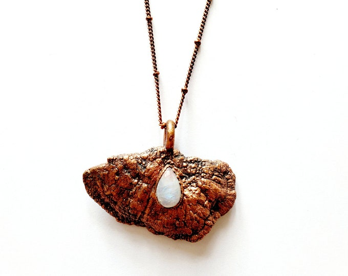 Tree Fungi and Teardrop Rainbow Moonstone Necklace // Electroformed Jewelry // Soldered Copper Chain // Mushroom, Fungi, Bracket